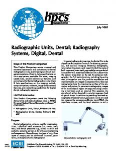 Radiographic Units, Dental; Radiography Systems, Digital, Dental