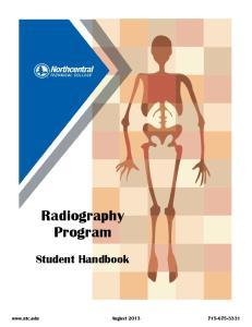 Radiography Program. Student Handbook.  August