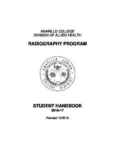RADIOGRAPHY PROGRAM STUDENT HANDBOOK