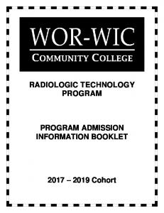 RADIOLOGIC TECHNOLOGY PROGRAM PROGRAM ADMISSION INFORMATION BOOKLET