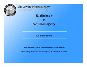 Radiology in Neurosurgery