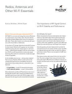 Radios, Antennas and Other Wi-Fi Essentials