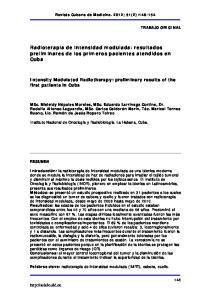 Radioterapia de intensidad modulada: resultados preliminares de los primeros pacientes atendidos en Cuba