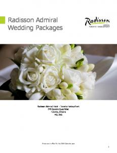 Radisson Admiral Wedding Packages