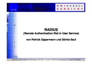 RADIUS (Remote Authentication Dial In User Service)