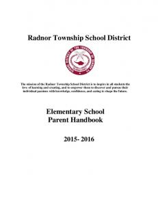 Radnor Township School District. Elementary School Parent Handbook