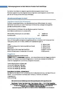 Rahmenprogramme im Best Western Premier Park Hotel & Spa