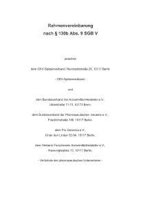 Rahmenvereinbarung nach 130b Abs. 9 SGB V