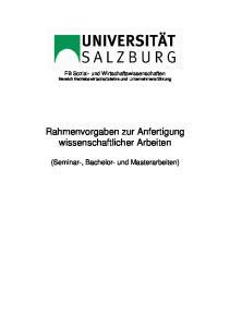 Rahmenvorgaben zur Anfertigung wissenschaftlicher Arbeiten