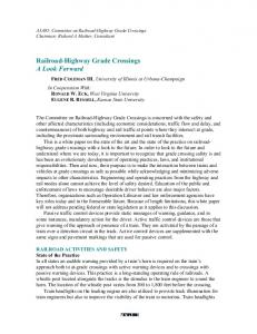 Railroad-Highway Grade Crossings A Look Forward
