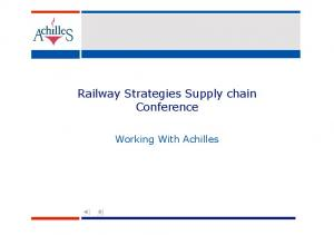 Railway Strategies Supply chain Conference. Working With Achilles