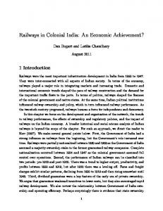 Railways in Colonial India: An Economic Achievement?