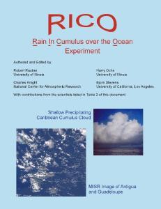 Rain in Cumulus over the Ocean (RICO) Scientific Overview Document