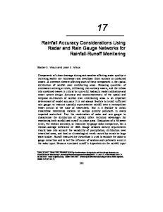 Rainfall Accuracy Considerations Using Radar and Rain Gauge Networks for Rainfall-Runoff Monitoring