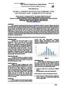 RAINFALL INTENSITY VARIATION FOR OBSERVED DATA AND DERIVED DATA - A CASE STUDY OF IMPHAL