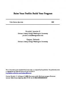 Raise Your Profile: Build Your Program