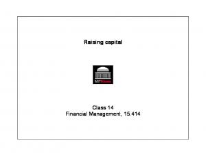 Raising capital. Class 14 Financial Management,