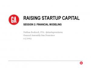 RAISING STARTUP CAPITAL SESSION 2: FINANCIAL MODELING