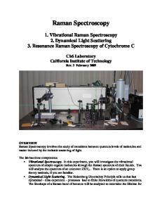 Raman Spectroscopy. 1. Vibrational Raman Spectroscopy 2. Dynamical Light Scattering 3. Resonance Raman Spectroscopy of Cytochrome C