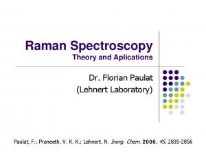 Raman Spectroscopy Theory and Aplications