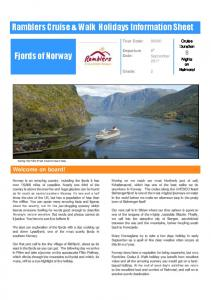Ramblers Cruise & Walk Holidays Information Sheet