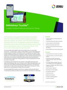 RANAdvisor TrueSite. Scalable Handheld Network and Service Testing