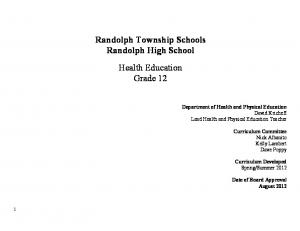 Randolph Township Schools Randolph High School Health Education Grade 12