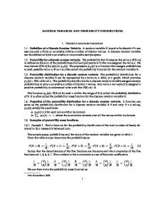 RANDOM VARIABLES AND PROBABILITY DISTRIBUTIONS