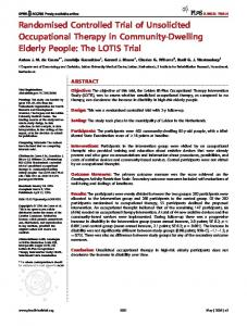 Randomised Controlled Trial of Unsolicited Occupational Therapy in Community-Dwelling Elderly People: The LOTIS Trial