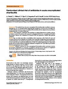 Randomized clinical trial of antibiotics in acute uncomplicated diverticulitis