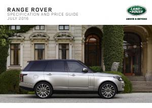RANGE ROVER SPECIFICATION AND PRICE GUIDE JULY 2016