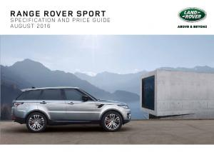 RANGE ROVER SPORT SPECIFICATION AND PRICE GUIDE AUGUST 2016