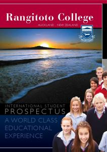 Rangitoto College. A world class. experience AUCKLAND. NEW ZEALAND