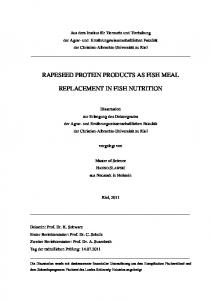 RAPESEED PROTEIN PRODUCTS AS FISH MEAL REPLACEMENT IN FISH NUTRITION