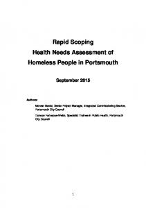Rapid Scoping Health Needs Assessment of Homeless People in Portsmouth