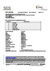 Rapor No TR Tarih:18 Ocak 2012 Sayfa 1 of 10