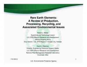 Rare Earth Elements: A Review of Production, Processing, Recycling, and Associated Environmental Issues