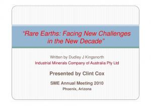 Rare Earths: Facing New Challenges in the New Decade