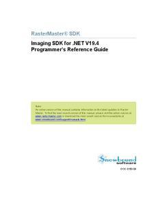 RasterMaster SDK Imaging SDK for.net V19.4 Programmer s Reference Guide