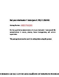 Rat pro interleukin 1 beta (pro-il1b) ELISA Kit