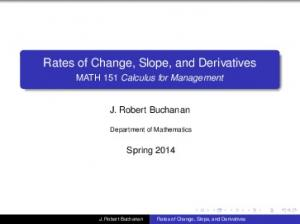 Rates of Change, Slope, and Derivatives