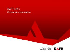 RATH AG Company presentation. Top technology creates confidence