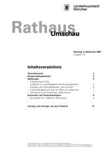 Rathaus. Umschau. Inhaltsverzeichnis. Dienstag, 8. September 2009 Ausgabe 170