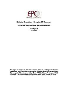 Ratify the Constitution Strengthen EU Democracy