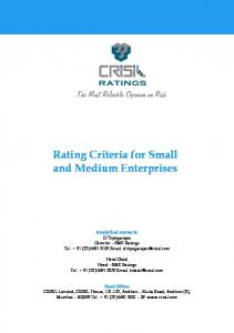 Rating Criteria for Small and Medium Enterprises