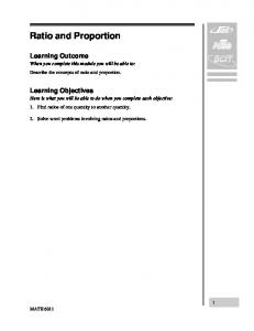 Ratio and Proportion. Learning Outcome. Learning Objectives
