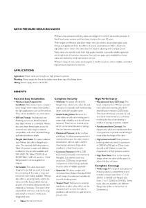 RATIO PRESSURE REDUCING VALVES APPLICATIONS BENEFITS