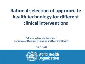 Rational selection of appropriate health technology for different clinical interventions
