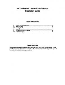 RATS Version 7 for UNIX and Linux Installation Guide