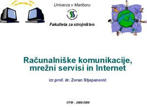 Računalniške komunikacije, mrežni servisi in Internet
